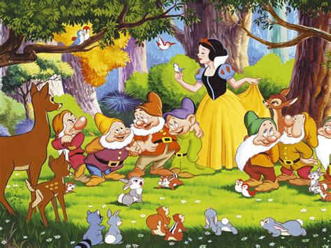 snow white  dwarfs bambi   animals