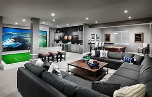 Contemporary, Game, Room, With, Carpet, U0026, Built