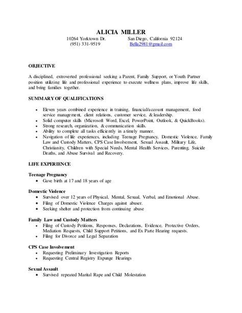 s parent family youth partner resume