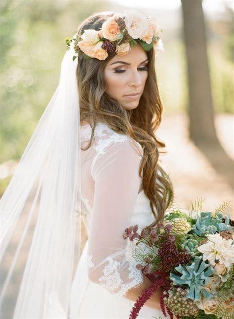 Loose Boho Waves Flower Crown Wedding Hairstyle
