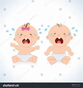 Crying Baby Boy Baby Girl Stock Vector 399194584 ...