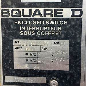 Used Square D 200 Amp Fusible Manual Transfer Switch For Sale
