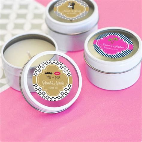 Personalized Wedding Favor Candle Tins