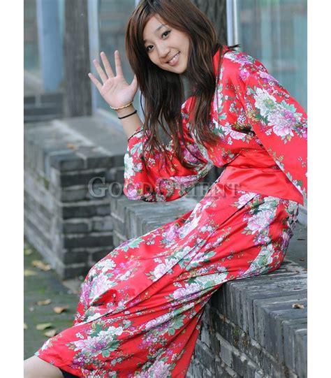 Red Japanese Style Kimono Robe - GoodOrient
