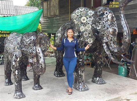 Elephant Statues, Life Size Scrap Metal Art Elephant