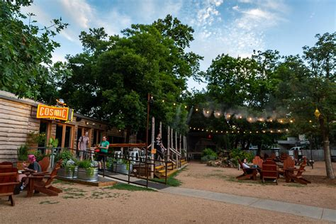 Austin coffee shops outdoor seating areas. Cosmic Coffee and Beer Garden | Live Music & Food Trucks too