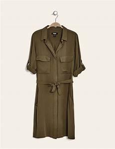robe chemise fluide kaki femme o jennyfer With robe jean kaki