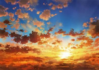 Sunset Clouds Sky Anime Landscape Wallpapers Edit