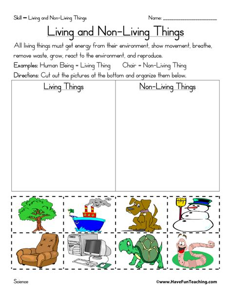 free worksheets on living and nonliving things for grade 1 free living and nonliving things worksheets