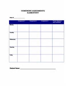 Weekly Homework Assignment Sheet Template