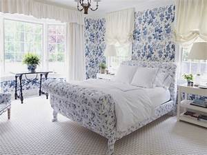 Traditional bedroom decor, blue floral bedroom country