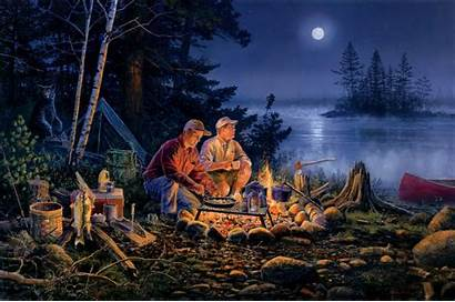 Campfire Background Night Forest Wallpapers Fishing Fire