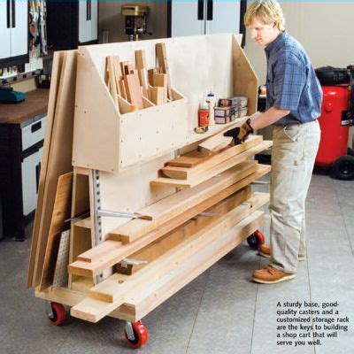 workshop cart rolling cart  wood pieces  double    wall storage