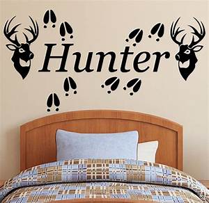 Personalized name 2 deer heads tracks vinyl wall decal for Hunting wall decals
