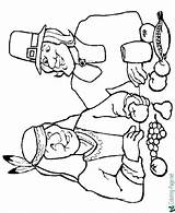Thanksgiving Coloring Pages Native American Pilgrim sketch template