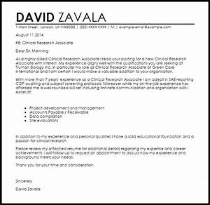 clinical research associate cover letter sample livecareer With entry clinical research associate