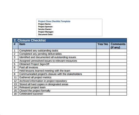 project list template 9 project checklist sles sle templates