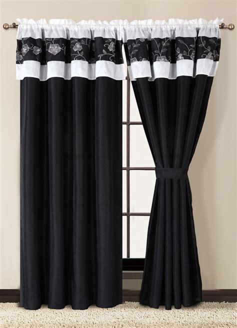 black and white curtain set w tassels sheers ebay