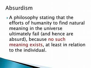 Discussion - Absurdism - Searching for meaning | Novel ...