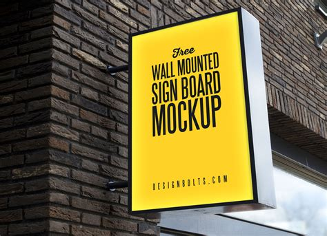 wall mounted backlit shop sign board mockup psd