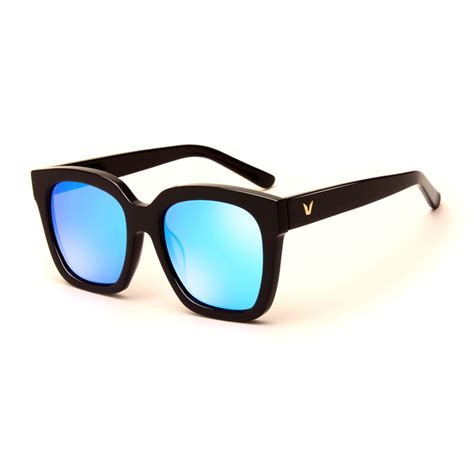 kacamata eyewear kacamata pria korean v style polarized sunglasses black blue jakartanotebook com