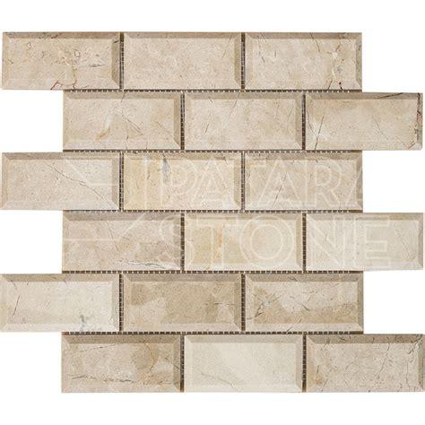 crema marfil  beveled brick polished mosaic patara stone
