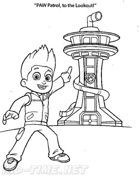 paw patrol lookout tower coloring book page lookout