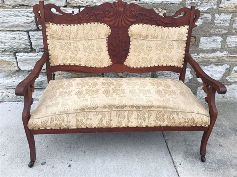 Settee Bench Seat by Eastlake Antique Settee Seat Carved Walnut
