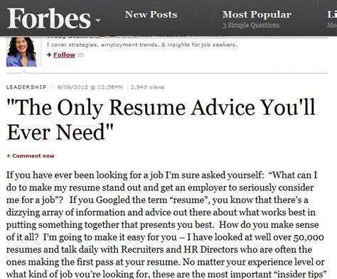 Best Resume Tips Forbes by Resume Forbes Quot The Only Resume Advice You Ll Need