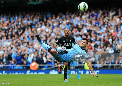 Manchester City's Sergio Aguero has a shot on goal News ...