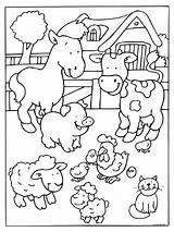 Farm Coloring Animal Preschool Worksheets Kindergarten Toddler sketch template