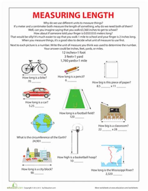 units of measurement length worksheet education