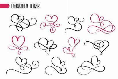 Vector Calligraphy Drawn Hand Hearts Sketchy Clipart