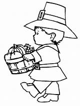 Coloring Pilgrim Thanksgiving Pages Printable Boy Turkey Fun Printables Lots Even sketch template