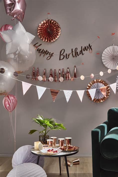decoration anniversaire rose gold vaisselle gobelets