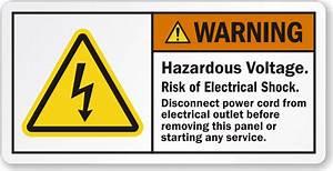 hazardous voltage risk of electrical shock warning label With electrical panel warning labels