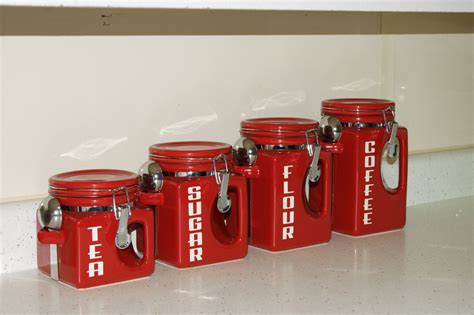 3.what kind of craft can you make9 decal. Ceramic Kitchen Canister set Red Coffee Tea Sugar Flour Jars