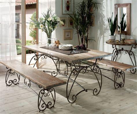 forum cuisine table en fer vieilli et acacia massif photo 1 20 style