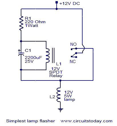 Simplest Lamp Flasher Circuit Under Repository Circuits