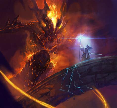 Lord Of The Rings Gandalf Balrog Bridge Quest Hd Wallpaper