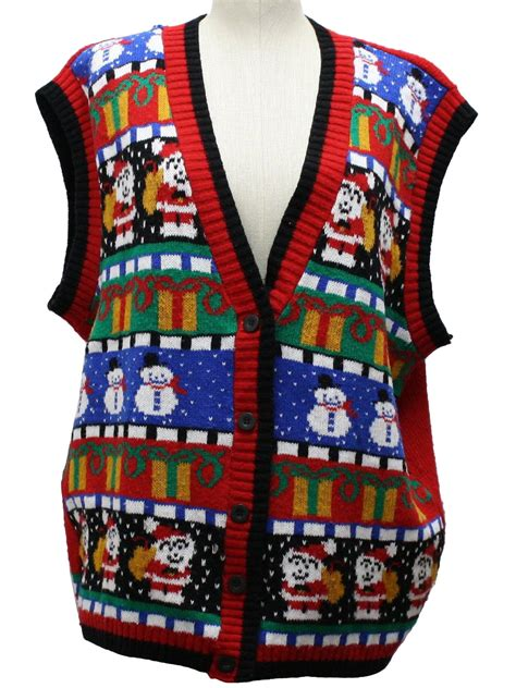 ugly christmas sweater vest tall  oversized long fit