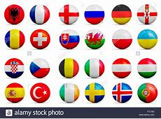 Soccer balls with groups team flags, Football Euro cup
