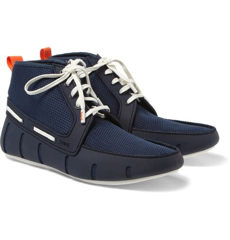 High Top Boat Shoes Mens by Lyst Swims Rubber And Mesh Hightop Boat Shoes In Blue