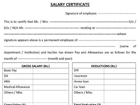 salary certificate formats word excel