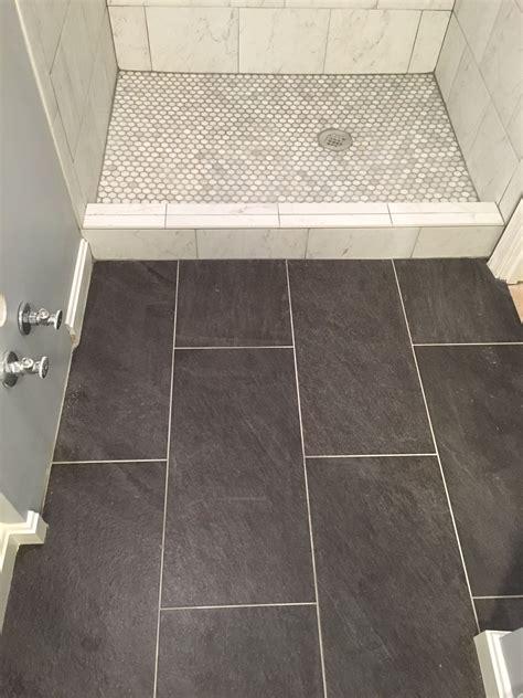 basement bathroom reno porcelain tile floor