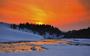 Snowy Sunset Wallpaper - WallpaperSafari