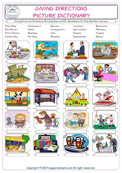 giving directions esl printable english vocabulary worksheets