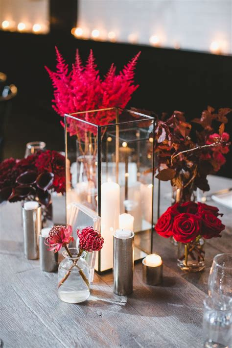 modern candle  red floral bud vase centerpieces