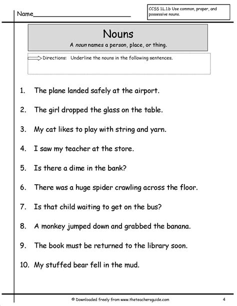 worksheets of nouns nouns worksheets from the s guide