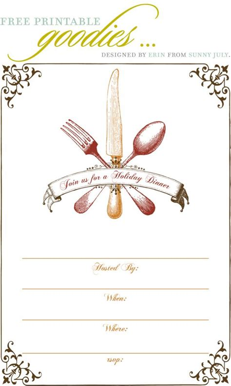 free christmas dinner invitations free printable thanksgiving dinner invite gobble gobble